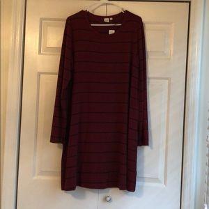NWT Long sleeve navy and burgundy dress